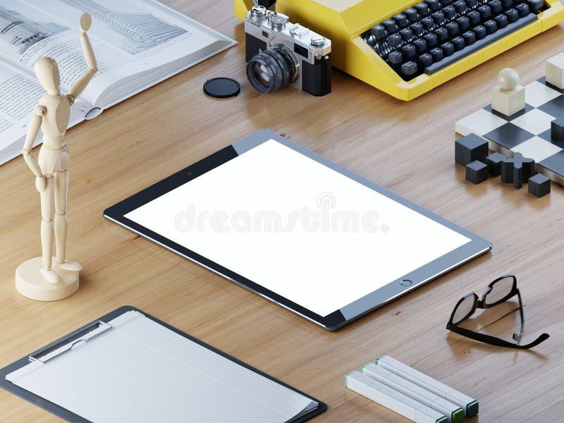 Wyczulony mockup pastylki ekran na biurowym biurku isometric ilustracja wektor
