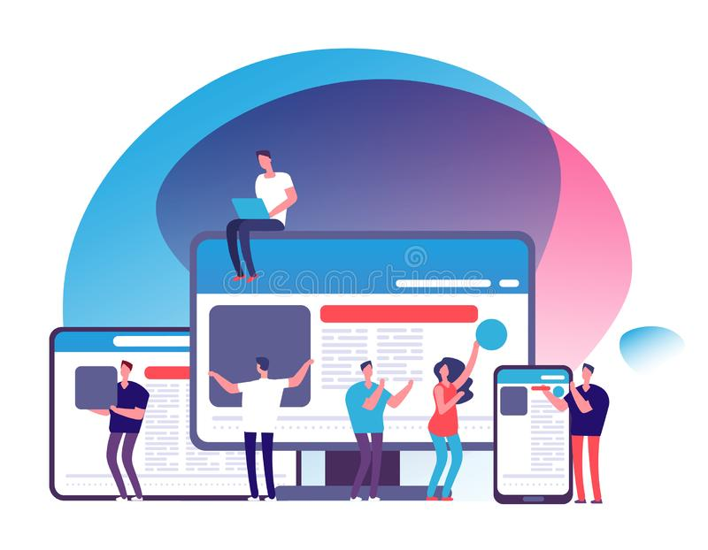 Wyczulony projekta wektoru pojęcie Ludzie tworzy wyczuloną aplikację sieciową z pastylką, telefon, laptop i komputer, ilustracji