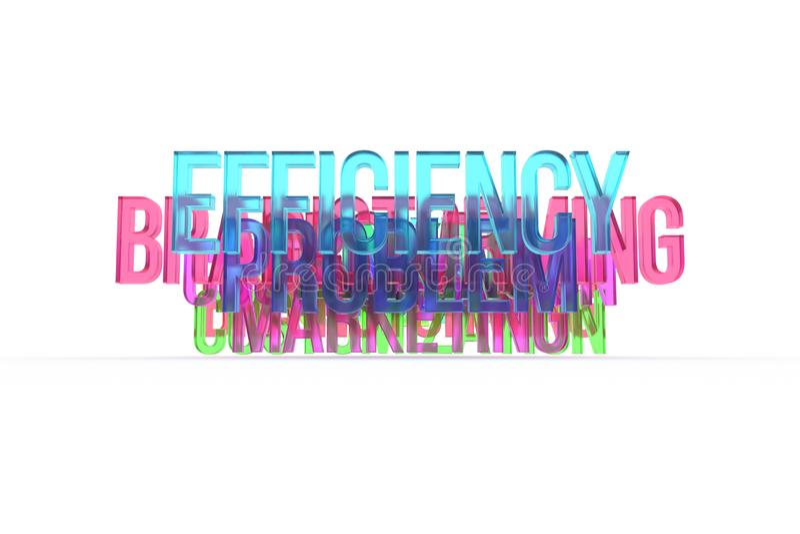 Wydajność & brainstorming, biznesowi konceptualni kolorowi 3D słowa Tło, abecadło, grafika & tytuł, ilustracja wektor