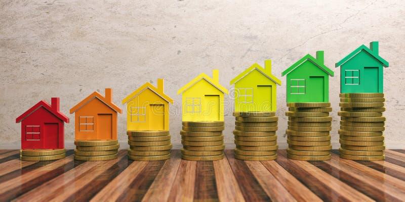 Wydajność energii i save pieniądze pojęcie ilustracja 3 d ilustracji