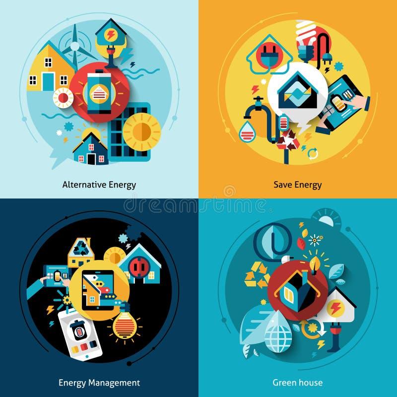 Wydajność Energii set ilustracja wektor