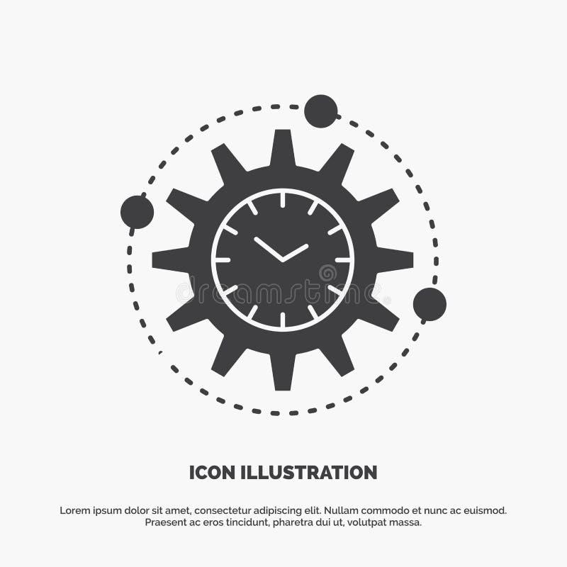 Wydajność, zarządzanie, przerób, produktywność, projekt ikona glifu wektorowy szary symbol dla UI, UX, strona internetowa i wiszą royalty ilustracja