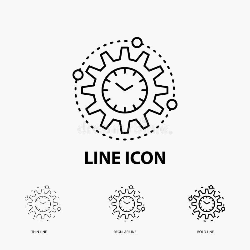Wydajność, zarządzanie, przerób, produktywność, projekt ikona w Cienkim, Miarowym i Śmiałym Kreskowym stylu, r?wnie? zwr?ci? core ilustracja wektor