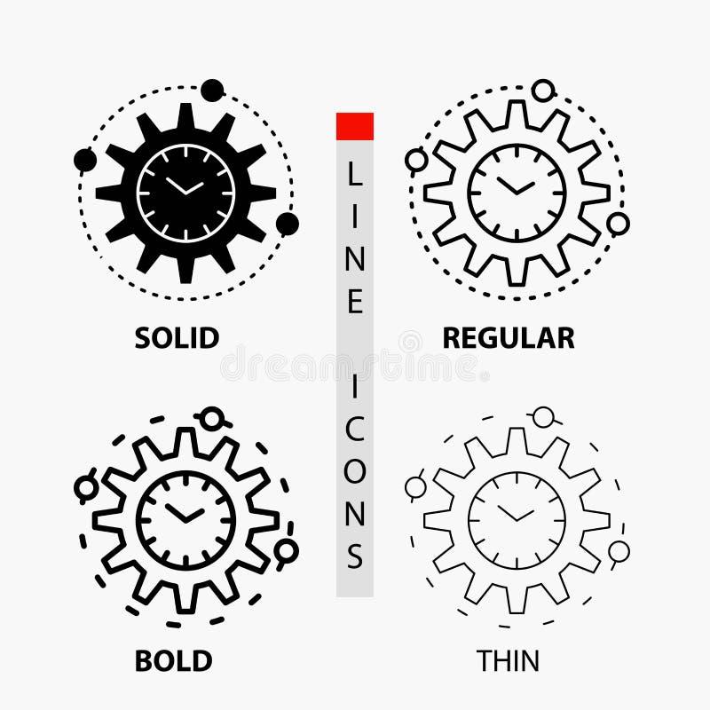 Wydajność, zarządzanie, przerób, produktywność, projekt ikona w linii i glifie Cienkiej, Miarowej, Śmiałej, Projektuje r?wnie? zw ilustracja wektor