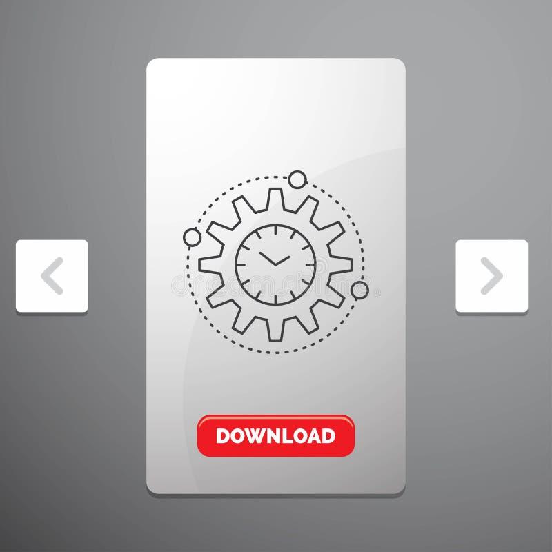 Wydajność, zarządzanie, przerób, produktywność, projekt Kreskowa ikona w biby paginacji suwaka projekcie & Czerwony ściąganie guz royalty ilustracja