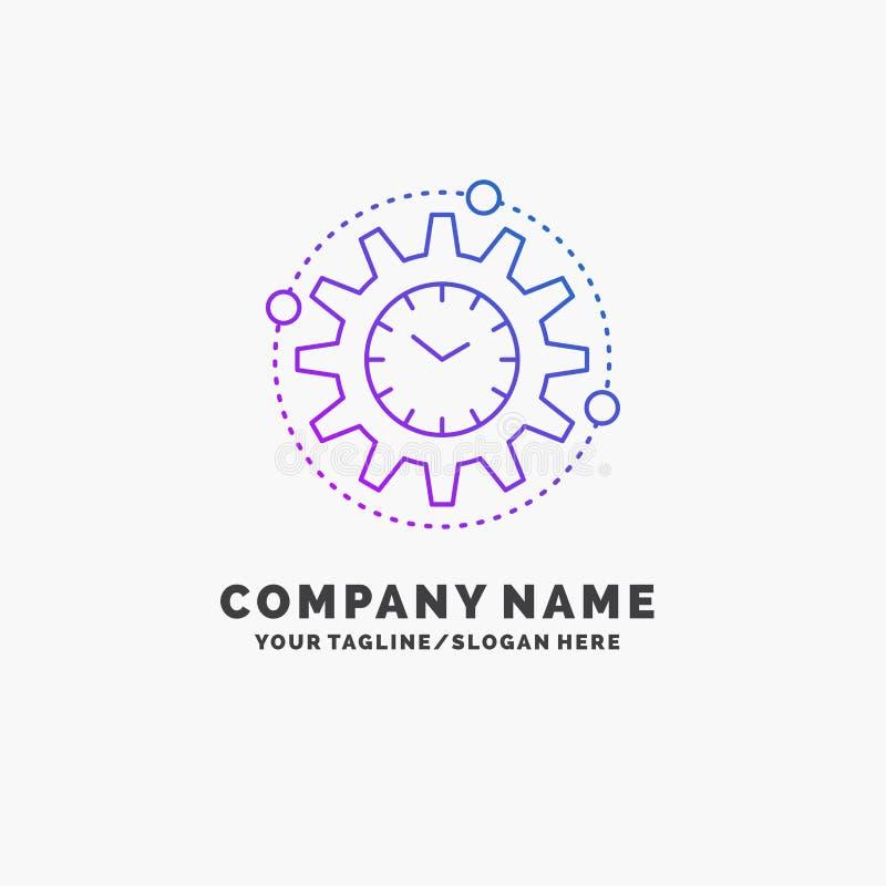 Wydajność, zarządzanie, przerób, produktywność, projekta logo Purpurowy Biznesowy szablon Miejsce dla Tagline royalty ilustracja