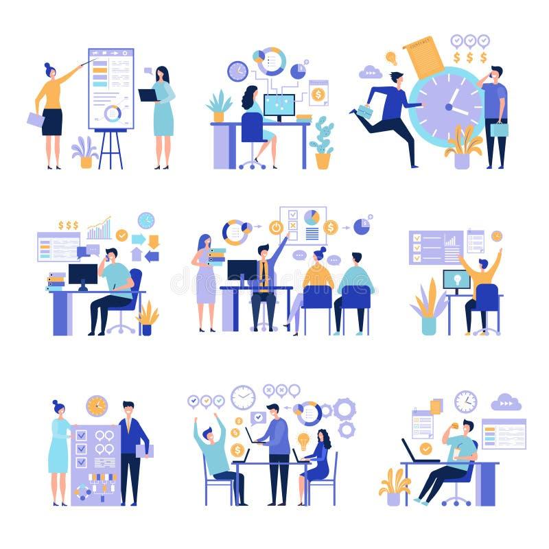 Wydajny zarz?dzanie Organizatorscy praca procesy z zadaniami na projekcie wsiadają aktywność wektoru pojęcia ludzie biznesu ilustracja wektor