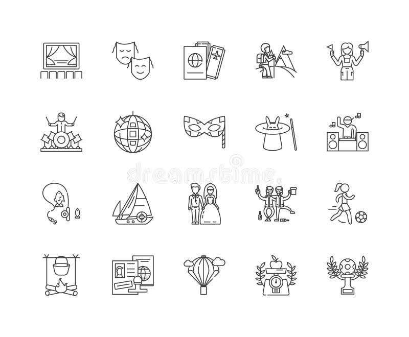 Wydarzenia wykładają ikony, znaki, wektoru set, kontur ilustracji pojęcie royalty ilustracja