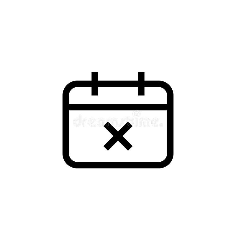 Wydarzenie ikony rozkład nie udać się projekt agenda kalendarz z przecinającym ocena symbolem prosty czysty kreskowej sztuki prof ilustracja wektor