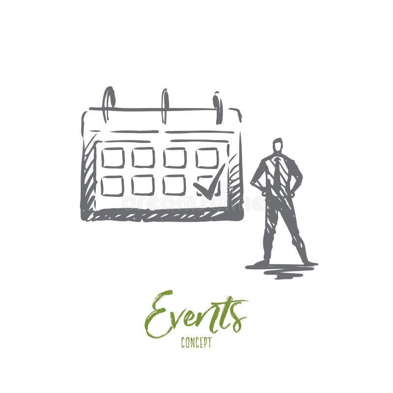 Wydarzenie, kalendarz, spotkanie, znak, rozkładu pojęcie Ręka rysujący odosobniony wektor royalty ilustracja
