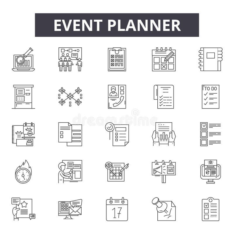 Wydarzenie planisty linii ikony dla sieci i mobilnego projekta Editable uderzenie znaki Wydarzenie planisty konturu pojęcia ilust ilustracja wektor