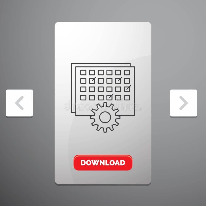 Wydarzenie, zarządzanie, przerób, rozkład, synchronizuje linii ikona w biby paginacji suwaka projekcie & Czerwony ściąganie guzik royalty ilustracja