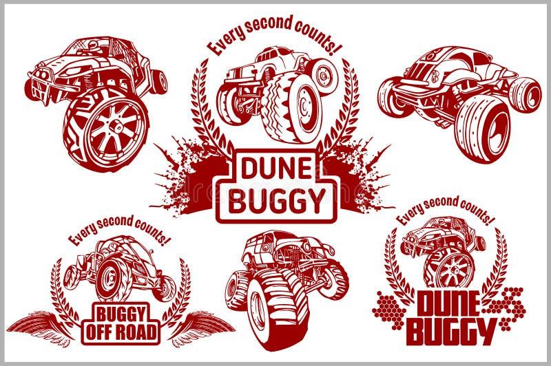Wydmowy powozik i potwór ciężarówka - wektorowa odznaka royalty ilustracja