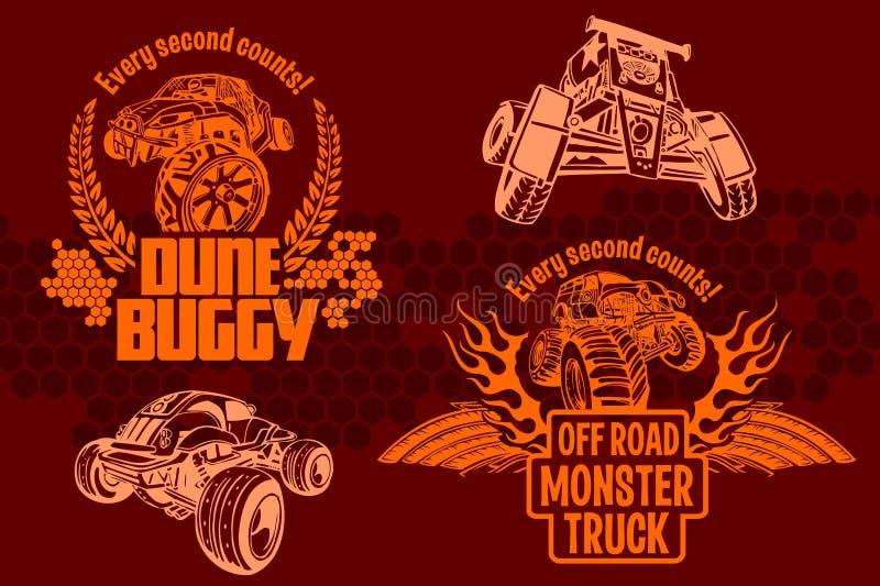 Wydmowy powozik i potwór ciężarówka - wektorowa odznaka ilustracji