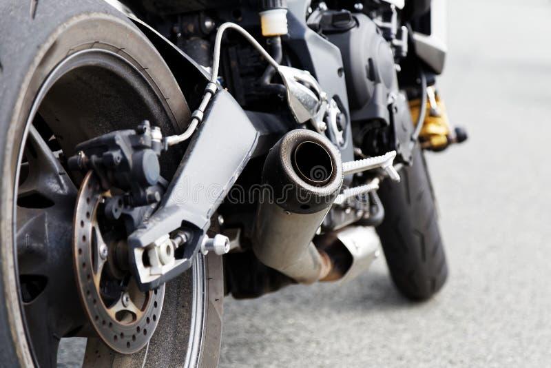 Wydmuchowa drymba i tylni koło motocicle zdjęcia royalty free