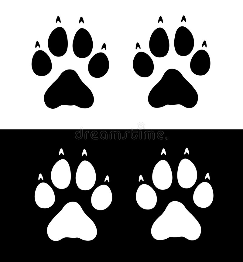 wydrukuj łap wilka ilustracja wektor