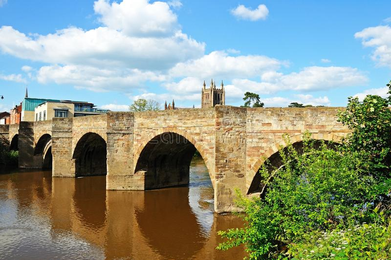 Wye bridge and river, Hereford. The Wye Bridge and the River Wye with the cathedral to the rear, Hereford, Herefordshire, England, UK, Western Europe royalty free stock images