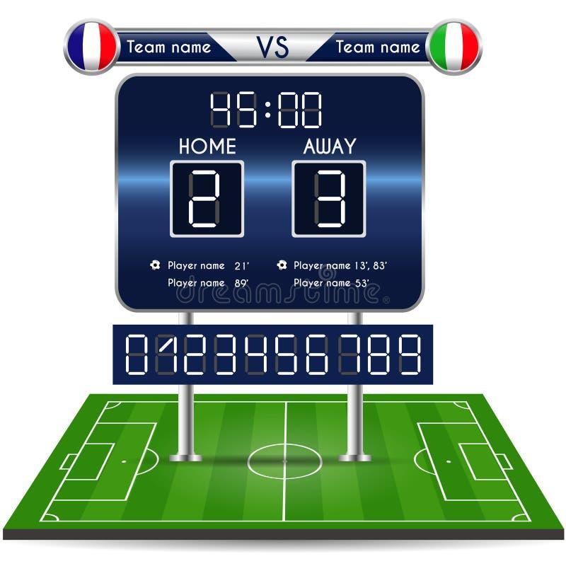 Wyemitowana grafika dla futbolowego definitywnego wynika Futbolowe mecz piłkarski statystyki z playfield royalty ilustracja