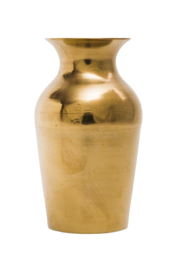 Wygłupy złoto grawerował orientalną metal wazę na odosobnionym tle fotografia royalty free