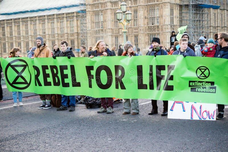 Wygaśnięcie bunta protestujący na Westminister moście, Londyn obrazy royalty free