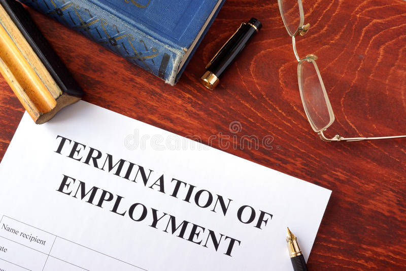 Wygaśnięcie zatrudnienie forma fotografia stock