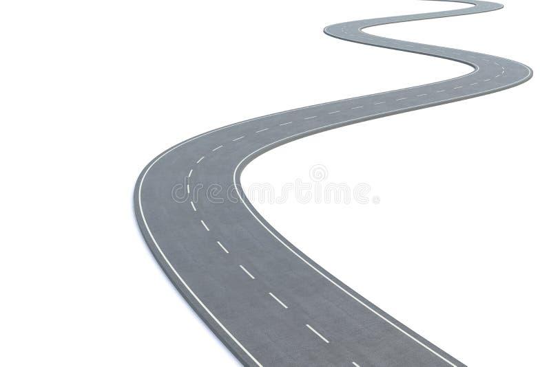 Wyginająca się droga odizolowywająca na białym tle ilustracja 3 d royalty ilustracja