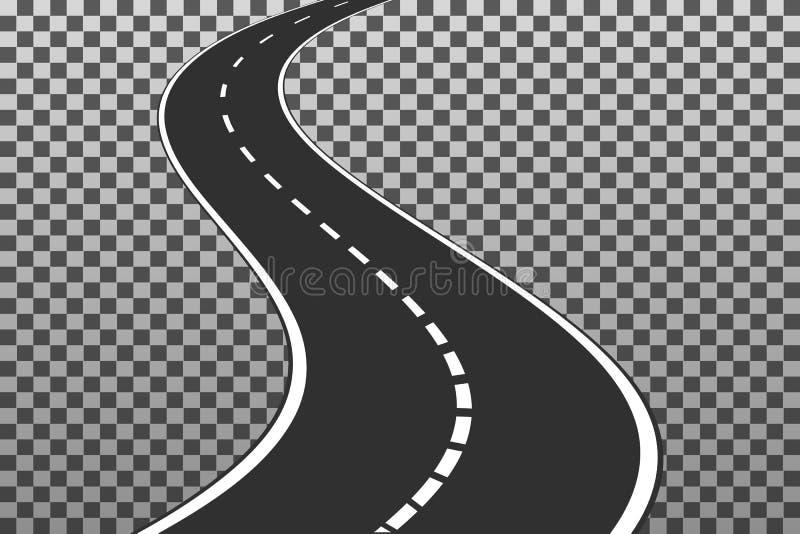Wyginająca się droga z białymi ocechowaniami EPS10 Wektorowe ilustracyjne zastępcy ilustracja wektor