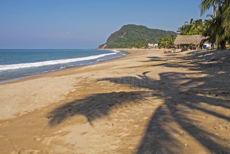 Wyginająca się Pacyficznego oceanu plaża obrazy stock