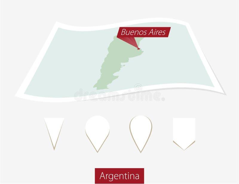 Wyginająca się papierowa mapa Argentyna z kapitałowym Buenos Aires na szarość ilustracja wektor