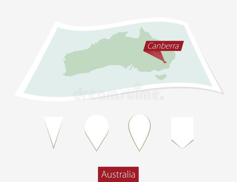 Wyginająca się papierowa mapa Australia z kapitałem Canberra Z powrotem na szarość ilustracja wektor