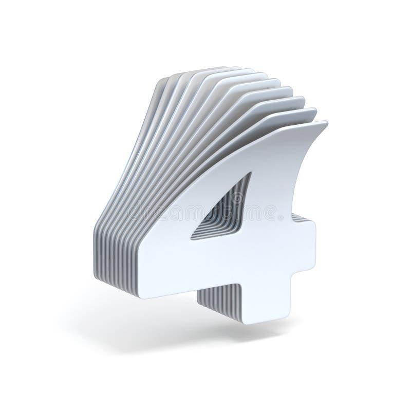 Wyginający się papierowi prześcieradła liczba 4 CZTERY 3D ilustracji