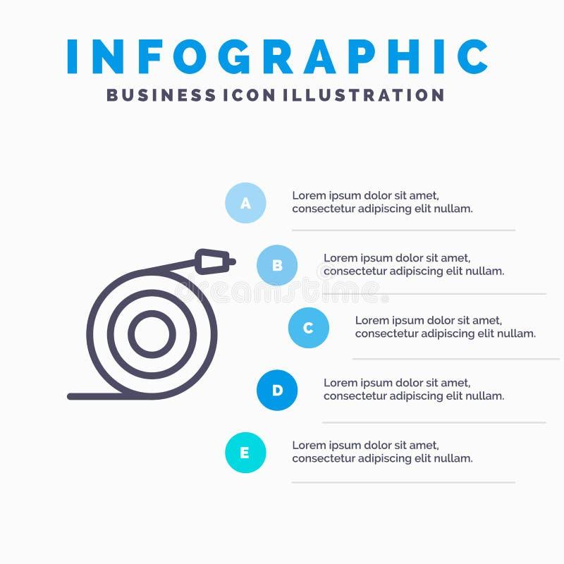 Wyginający się, przepływ, drymba, Wodnej linii ikona z 5 kroków prezentacji infographics tłem ilustracji