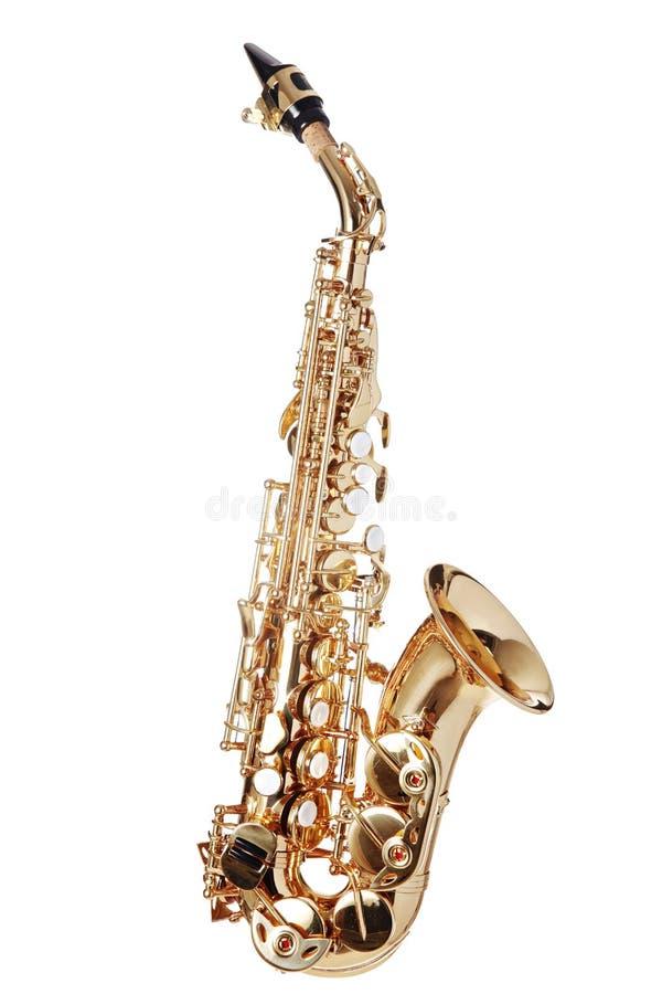Wyginający się Sopranowy saksofon obrazy royalty free