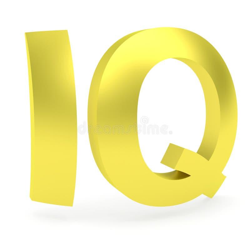 Wyginający się złoty IQ znak obraz stock