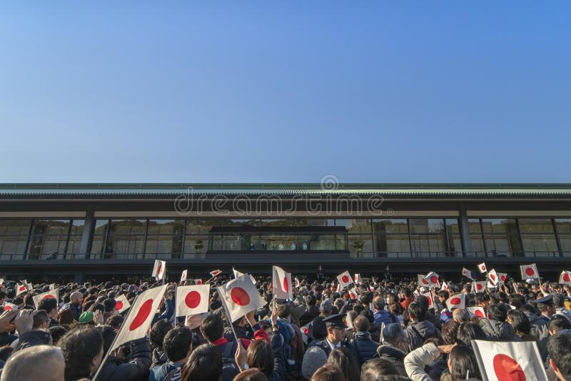 Wygląd z okazji Nowego Roku Ich Królewskich Mości, cesarza i cesarstwa Japonii, któremu towarzyszył młodszy brat obraz stock