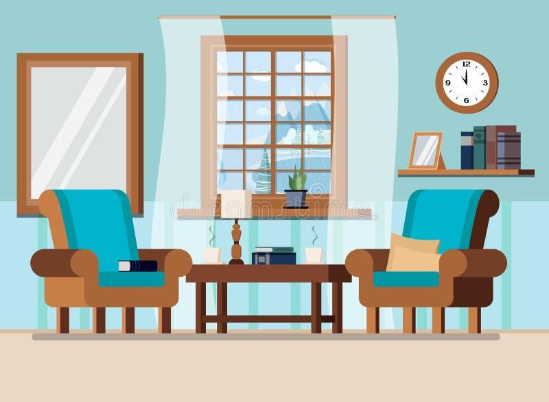 Wygodna domowa żywa izbowa wewnętrzna tło scena z okno z zima krajobrazem w kreskówki mieszkania stylu ilustracja wektor