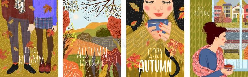 Wygodna jesie? Set śliczna wektorowa ilustracja z krajobrazowym naturalnym tłem, ludzie okno z filiżanką herbata, royalty ilustracja