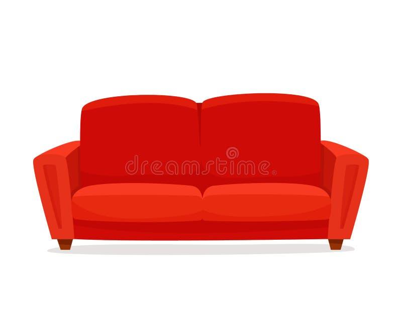 Wygodna kanapa na białym tle Odosobniony czerwony leżanka hol w wnętrzu ilustracja wektor