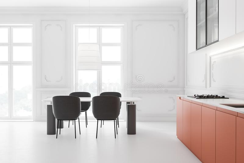 Wygodna kuchnia biała i pomarańczowa z stołem royalty ilustracja