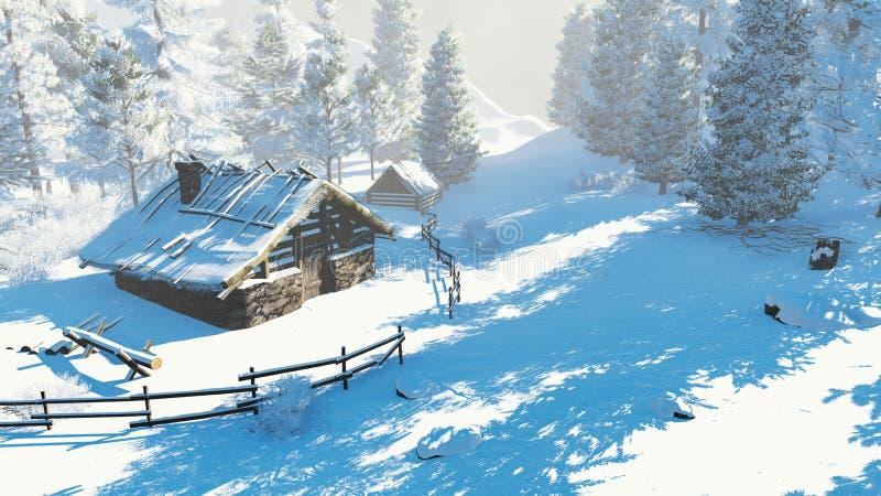 Wygodna mała buda w śnieżne góry przy dniem obraz royalty free