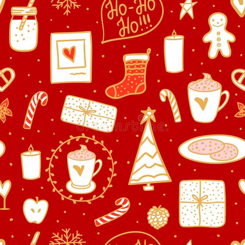 Wygodna ręka rysujący stylowy bezszwowy wzór Gorący mleko i ciastka dla Santa Wektorowego Wesoło bożych narodzeń pojęcia karciany ilustracja wektor