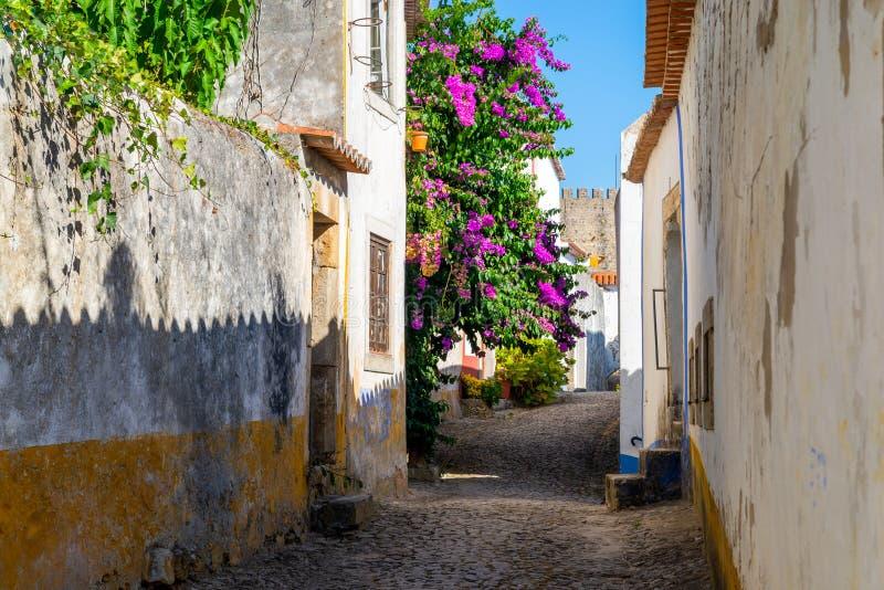 Wygodne w?skie ulicy stary grodzki Obidos, Portugalia obrazy royalty free