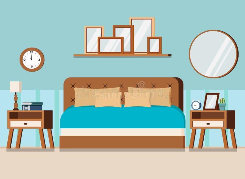 Wygodnej sypialni wewnętrzna scena z meble: łóżko, nightstands, ścienny zegarek, lustro, książki, lampa, budzik, półka z obrazkam ilustracji