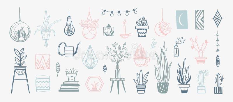 Wygodni wewnętrzni wystroju wektoru elementy Ręki rysować dom dekoracje i rośliny ilustracji