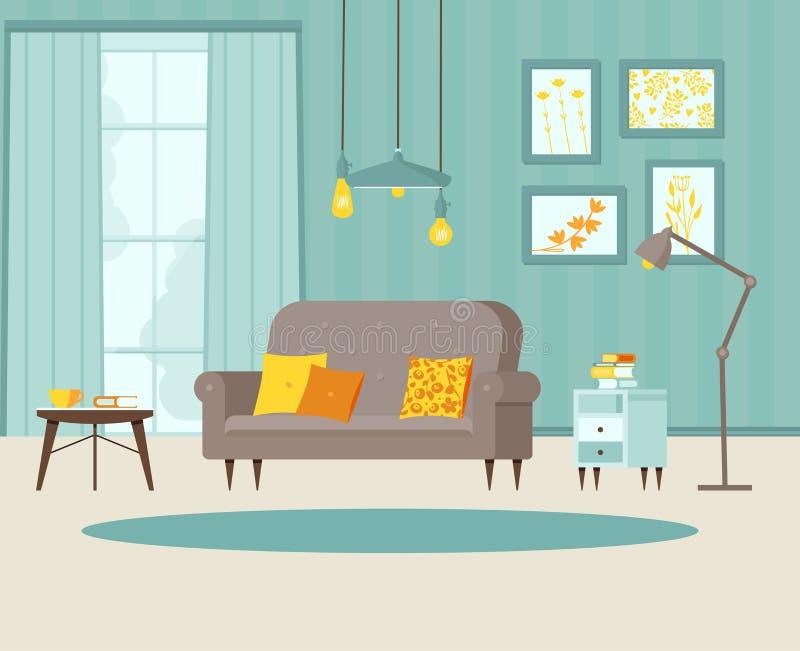 Wygodny żywy pokój z kanapą, wezgłowie stołem z książkami, plakatami na ścianie i pasiastą tapetą, lampa, okno, balkon ilustracja wektor