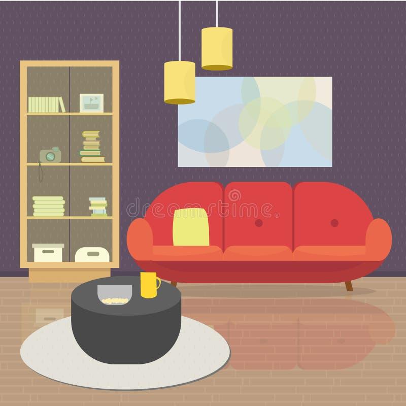 Wygodny Żywy izbowy wnętrze z meble i okno Mieszkanie stylowa wektorowa ilustracja royalty ilustracja