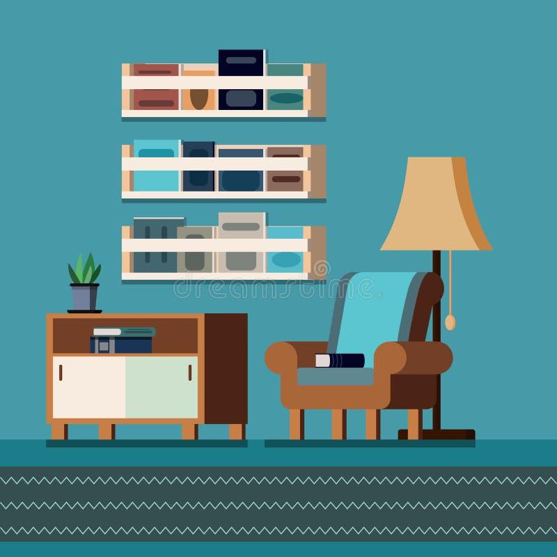 Wygodny domowej biblioteki izbowy wewnętrzny tło z książkowymi półkami, curbstone, lampa, roślina, książki, karło, dywan ilustracji