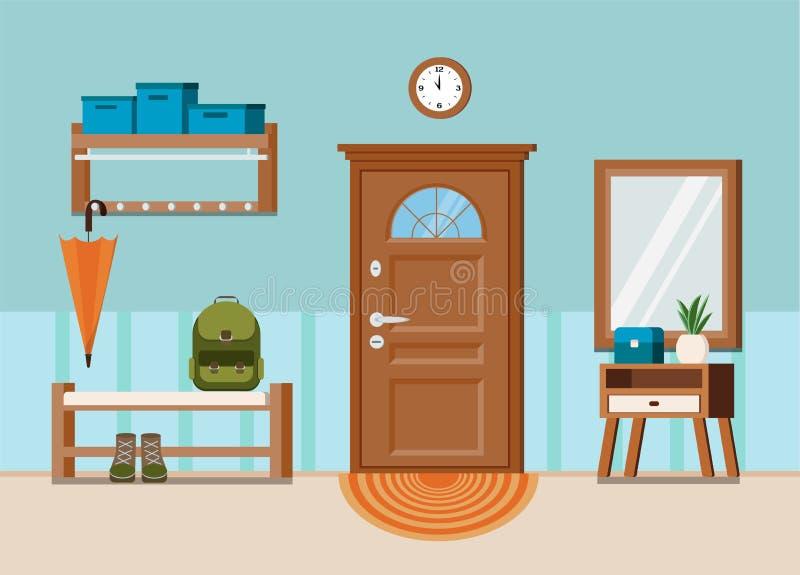 Wygodny domowy wejściowej sali wewnętrzny tło z drzwi royalty ilustracja