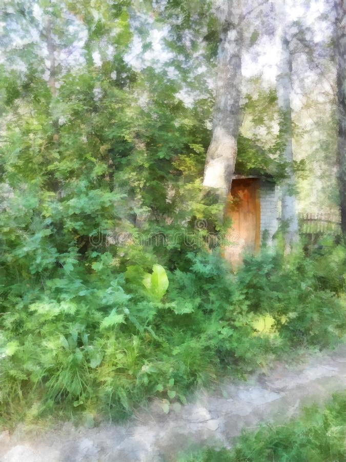 Wygodny drewniany dom chował w gąszczach podskakuje ilustracji