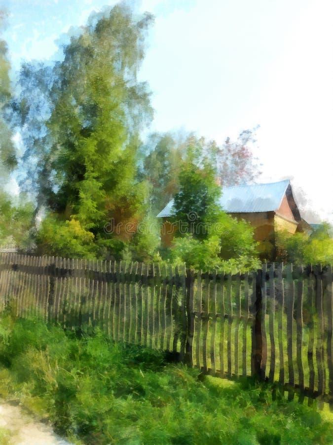 Wygodny drewniany dom chował w gąszczach podskakuje ilustracja wektor